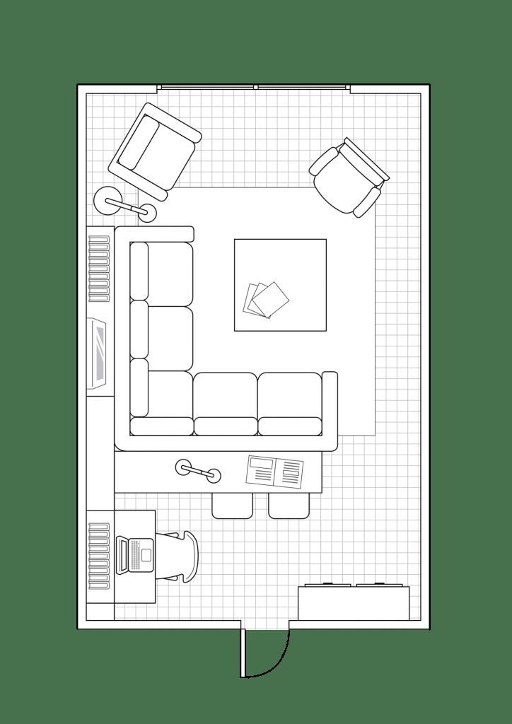 Plano de salón comedor alargado. 10. Un completo estudio tras el sofá