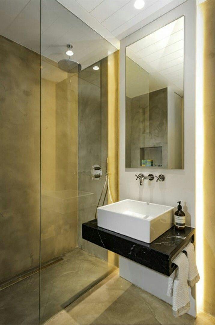 Hipo de suelo microcemento baño